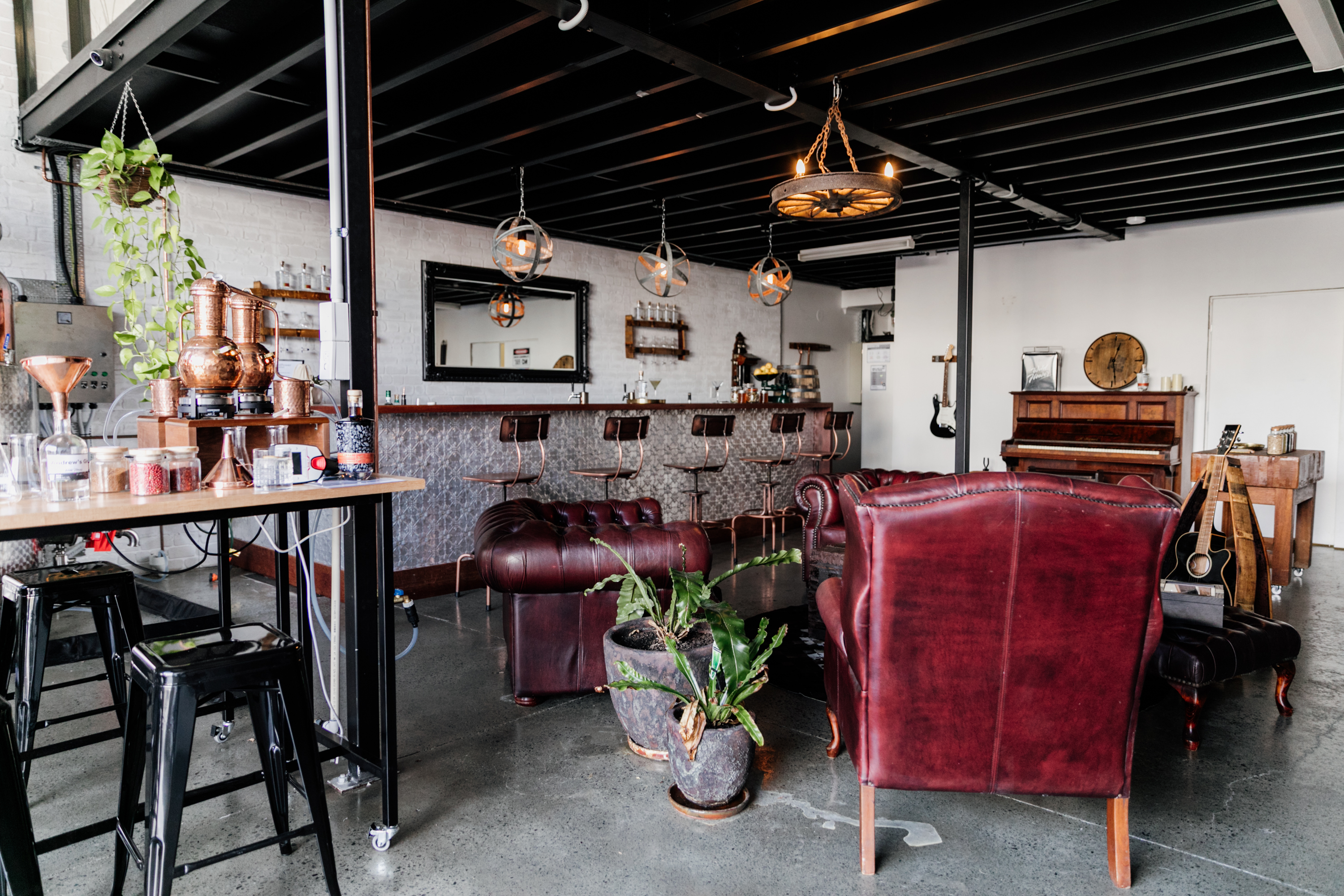 the eclectic interior of a gin distillery
