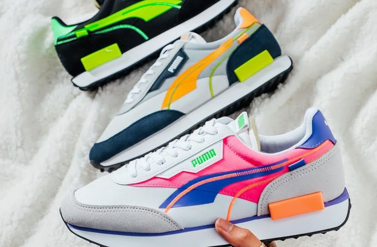 Cneakers in vibrant colours.