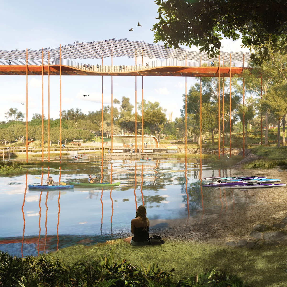 render of a lagoon area in the park