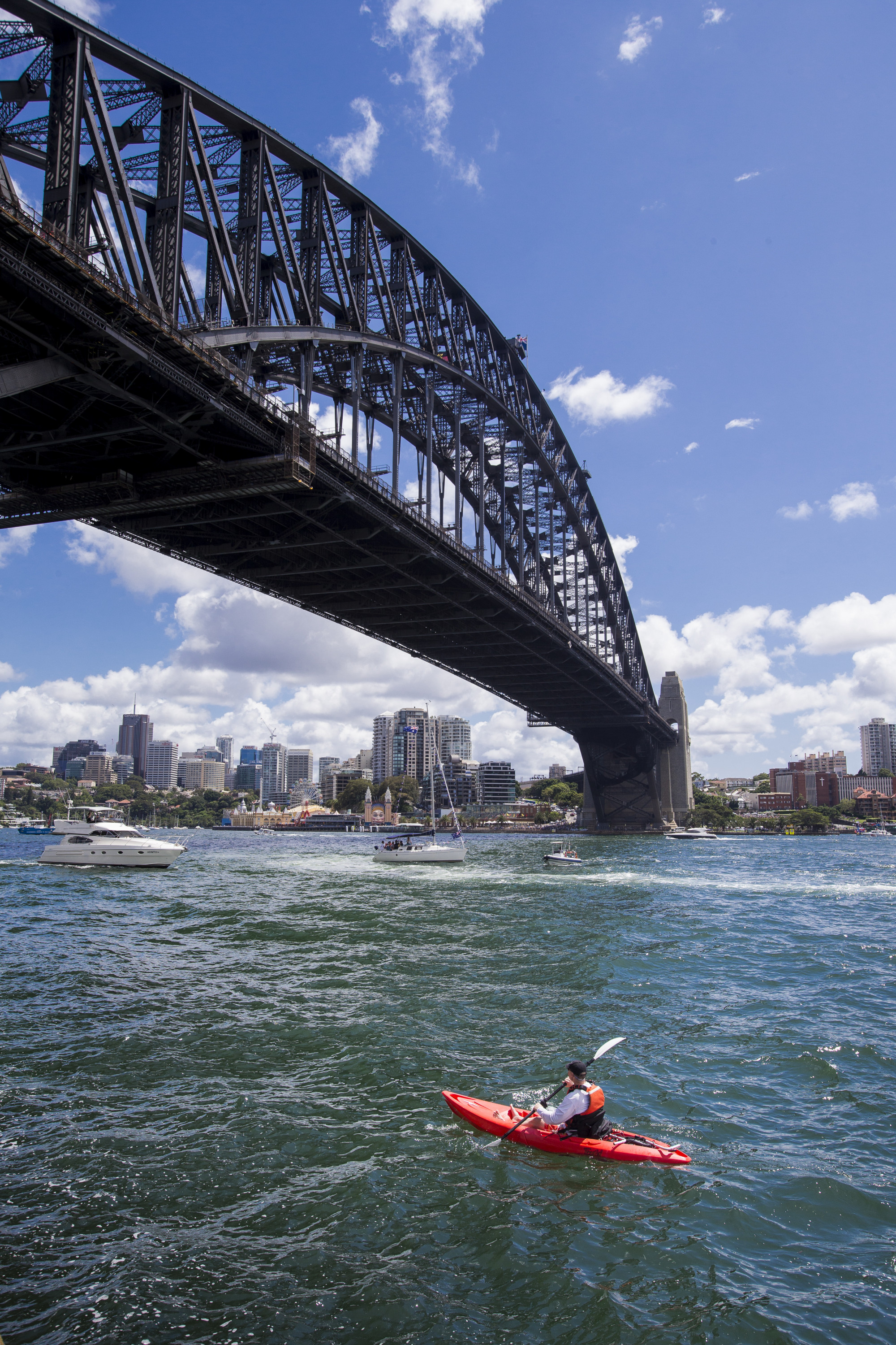 someone kayaking on the sydney harbour