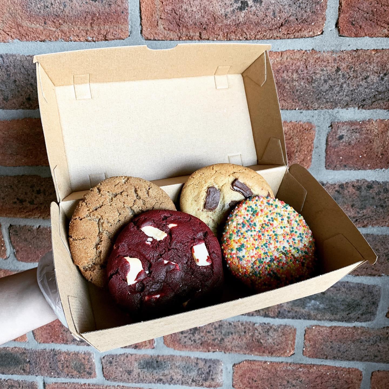a cardboard box of cookies