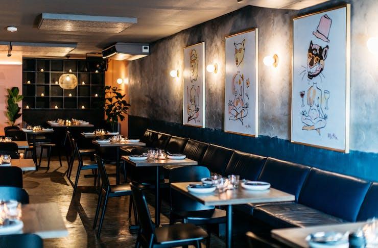 a dark restaurant interior of the new three blue ducks venue in byron bay