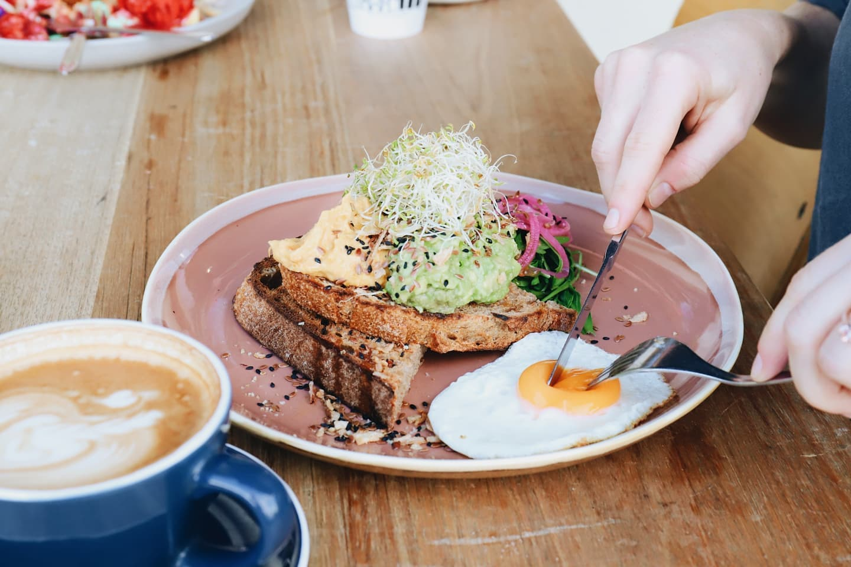 avo and eggs on toast