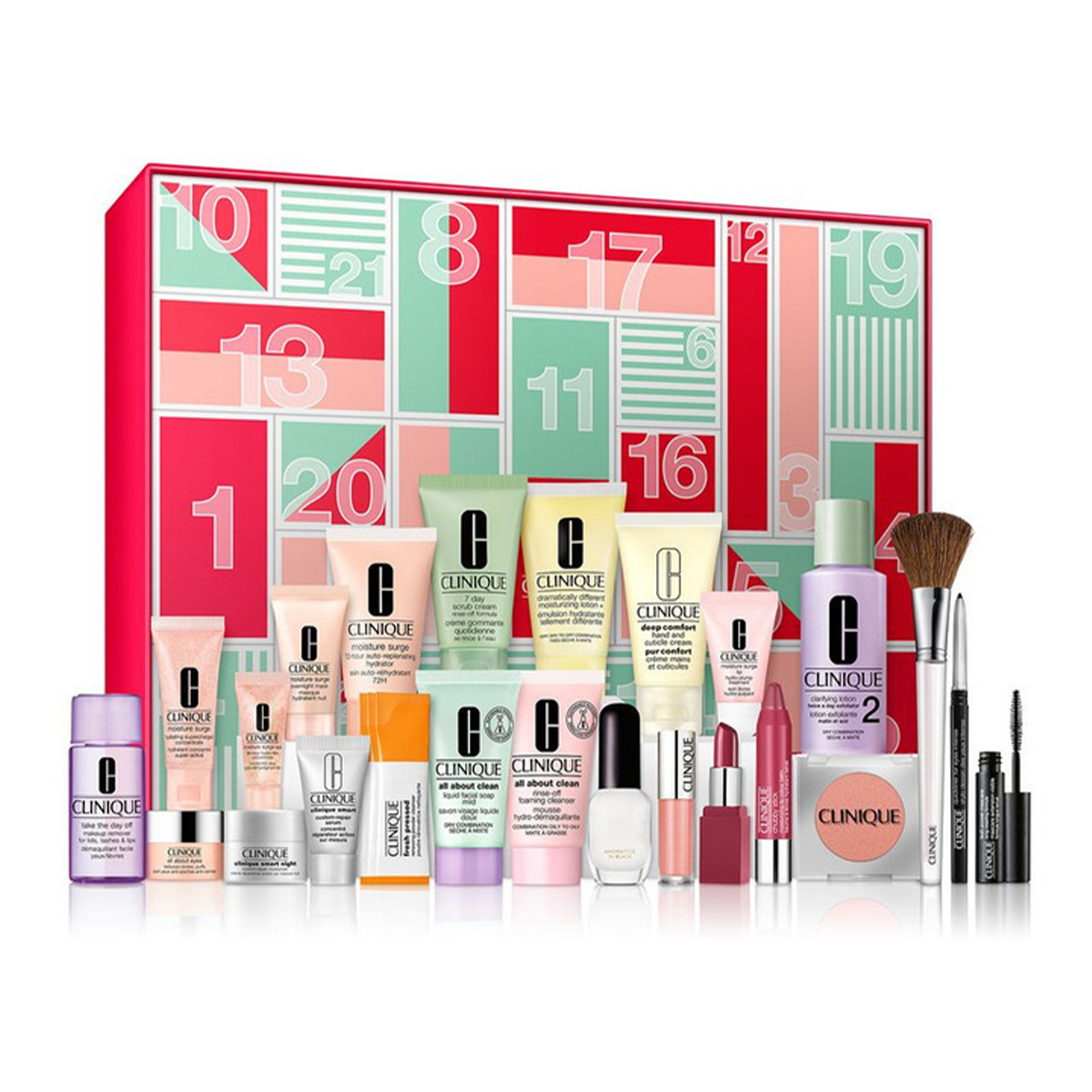 a red and pink box covered in numbers with clinique samples in front