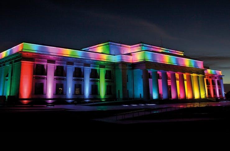 Auckland Museum lit rainbow to celebrate Auckland Pride