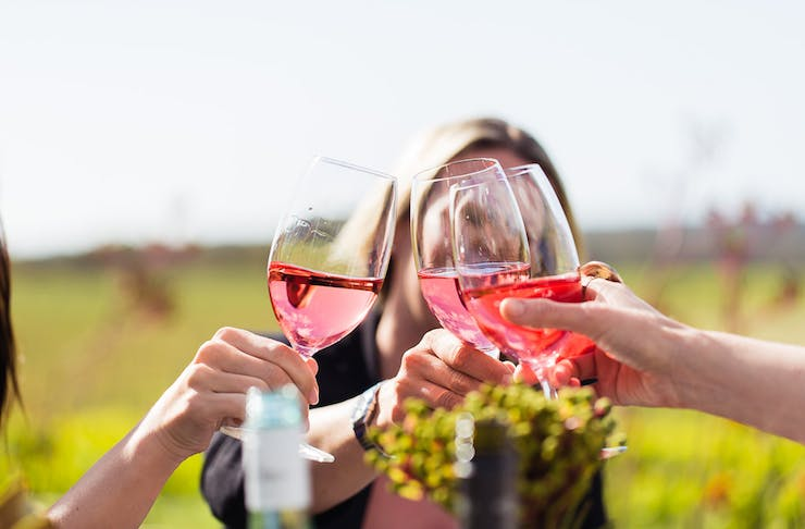 three girls clinking glasses of pink wine in a vineyard