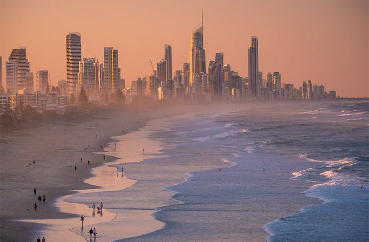 A beautiful sunset shot of the skyline at Surfers Paradise