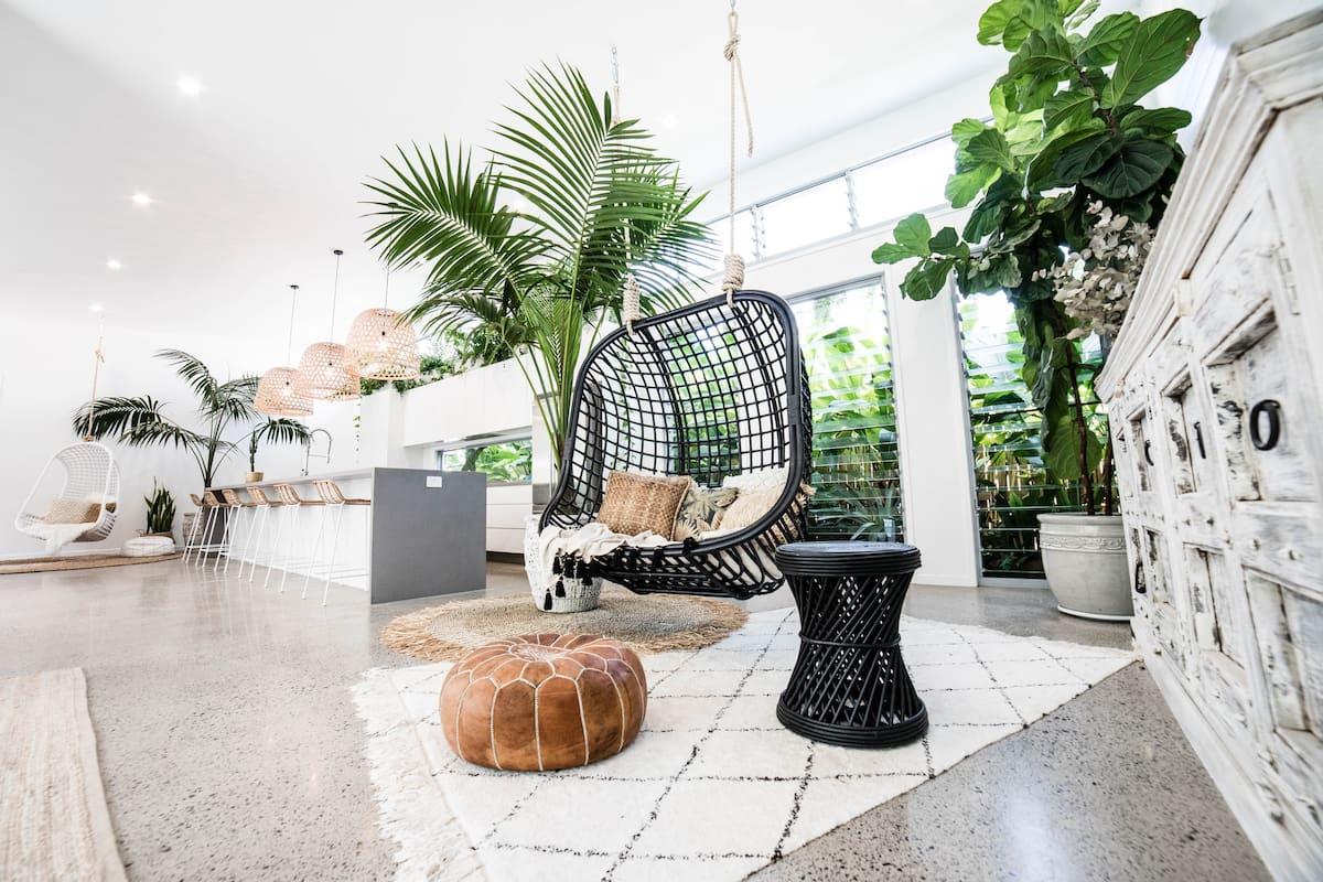 a boho styled lounge room