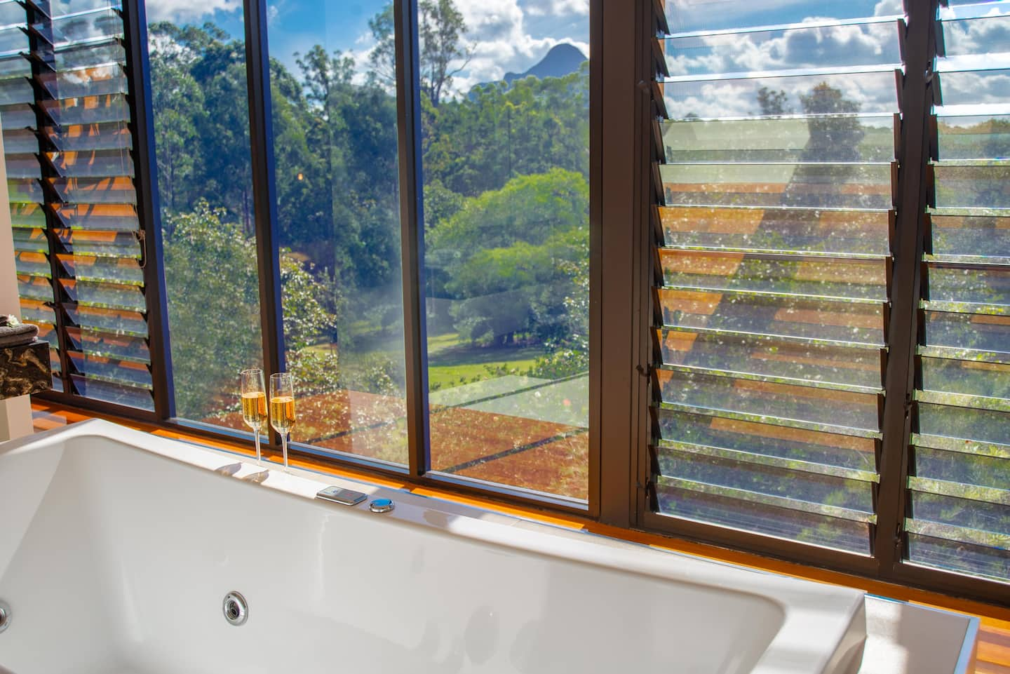 a bath next to a window overlooking mountains