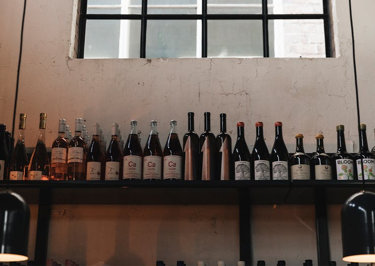 Shelf filled with wine