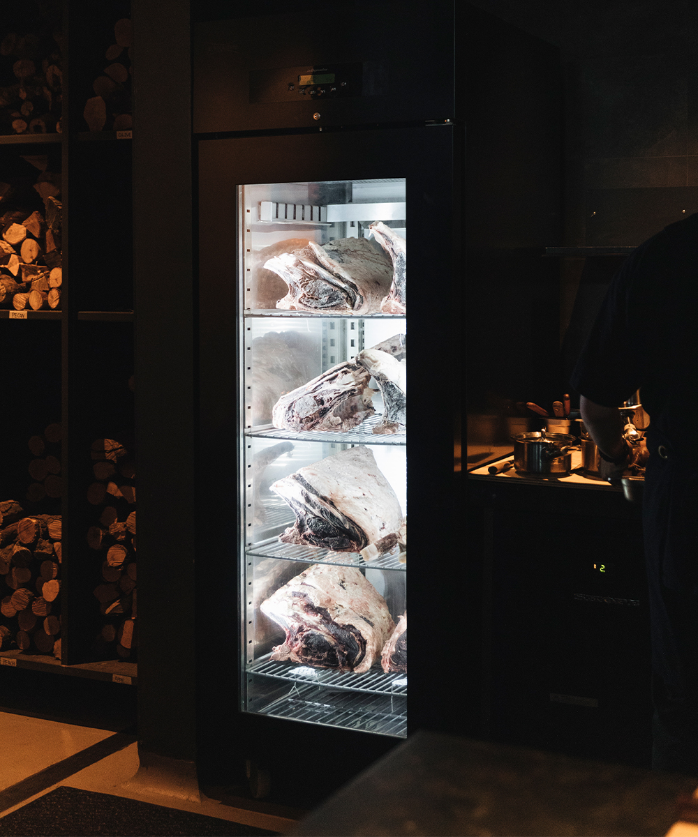 Dry ageing cabinet at Agnes Restaurant