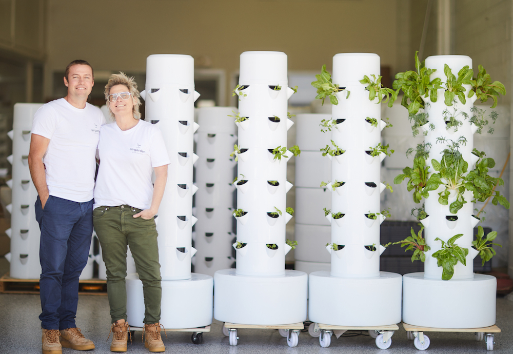 Owners Tom and Prue standing next to three Airgardens