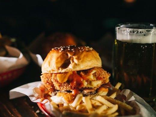 Deep Fried Mac and Cheese burger at Alabama Song