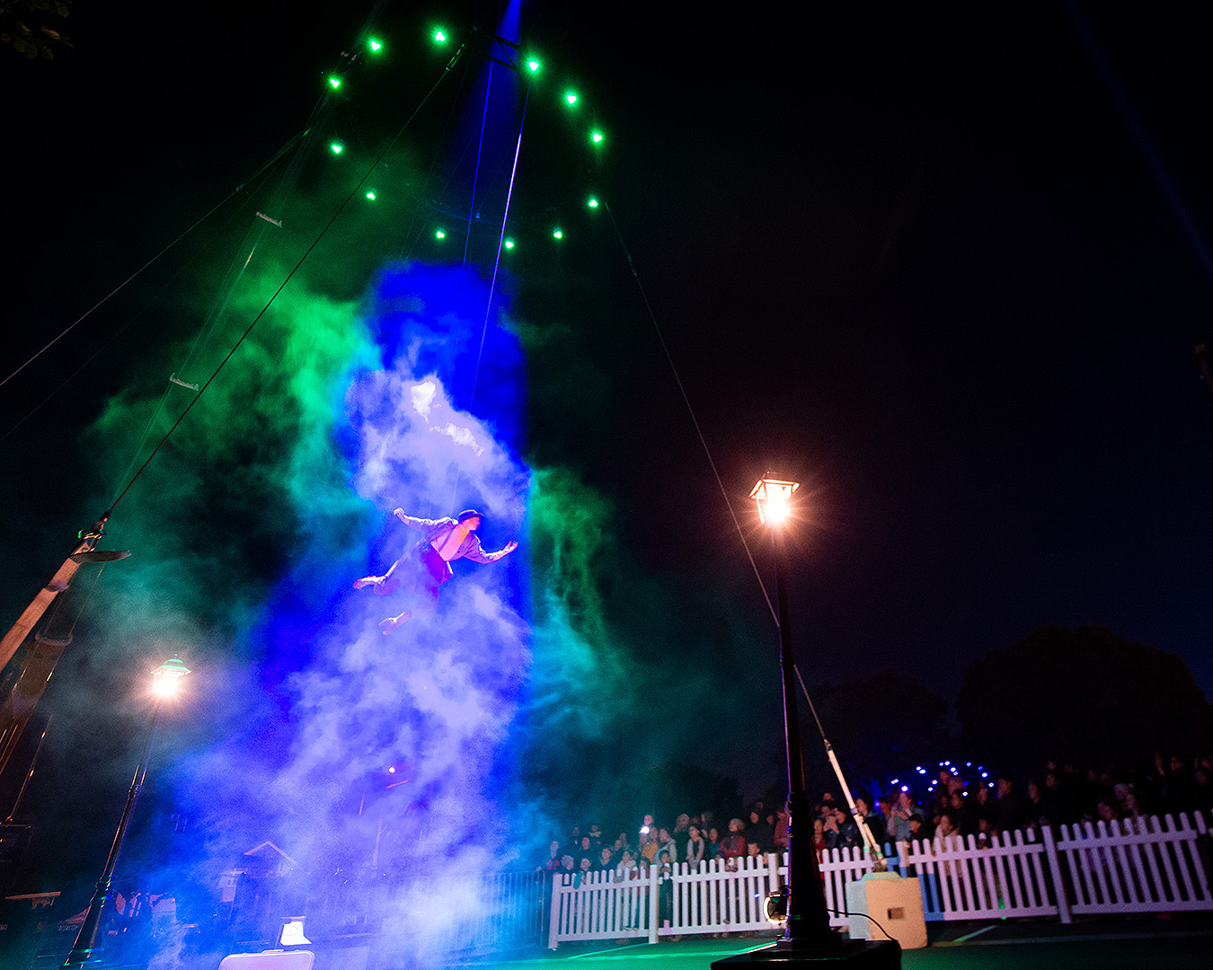 A person flies into the sky at the alien abduction.