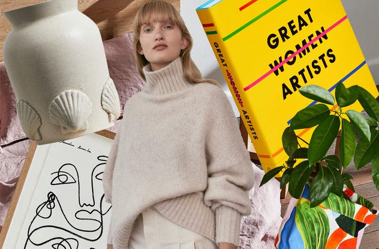 A collection of Mother's Day gifts, including a stoneware vase, cashmere jumper, coffee table book, artwork and planter.
