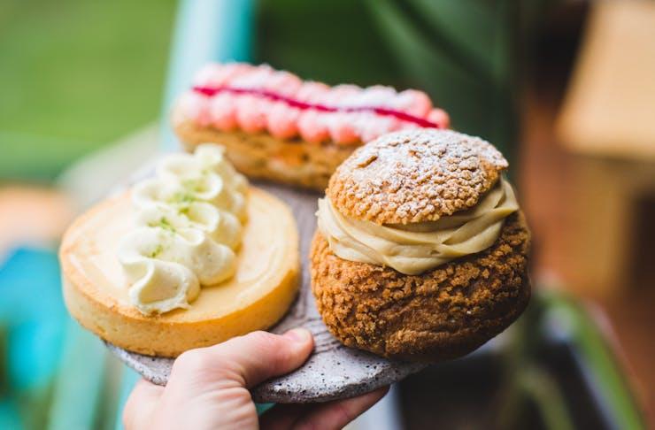 a close up of three baked treats