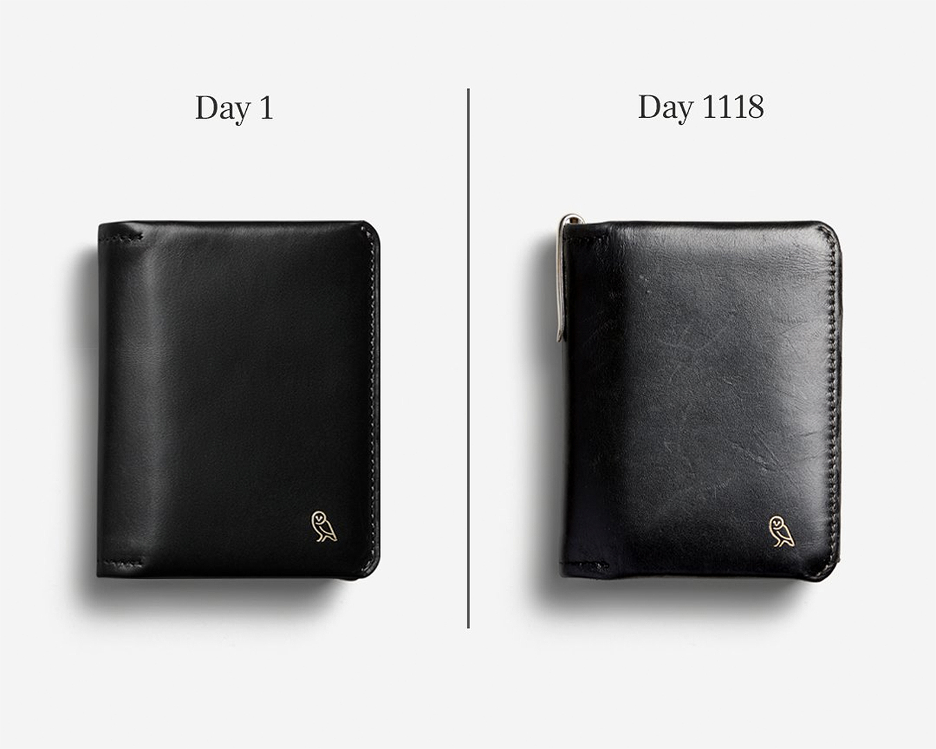 A wallet from Bellroy showing the difference between day 1 and day 1118 (not much), available from the iconic
