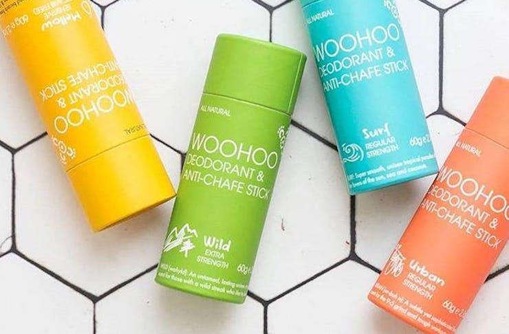 Flat lay of Woohoo Natural Deodorant Sticks
