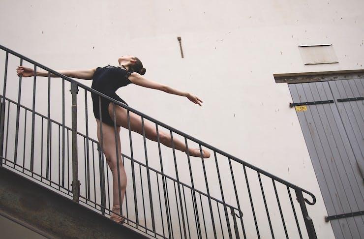 Ballerina on staircase