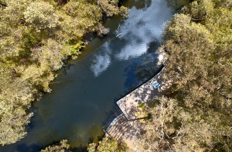 Drone shot of Black Diamond Lake