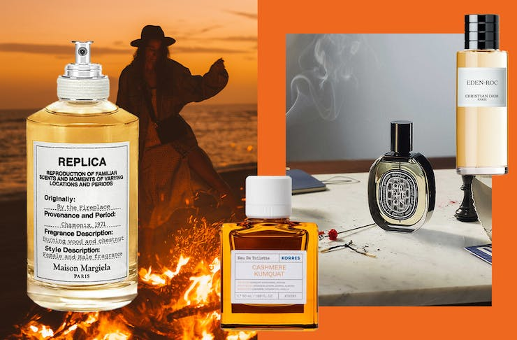 A collage of winter-ready fragrances