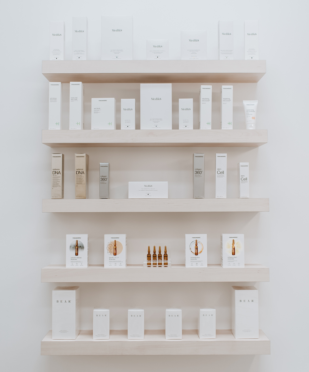 Wall of products at Blanc Cottesloe