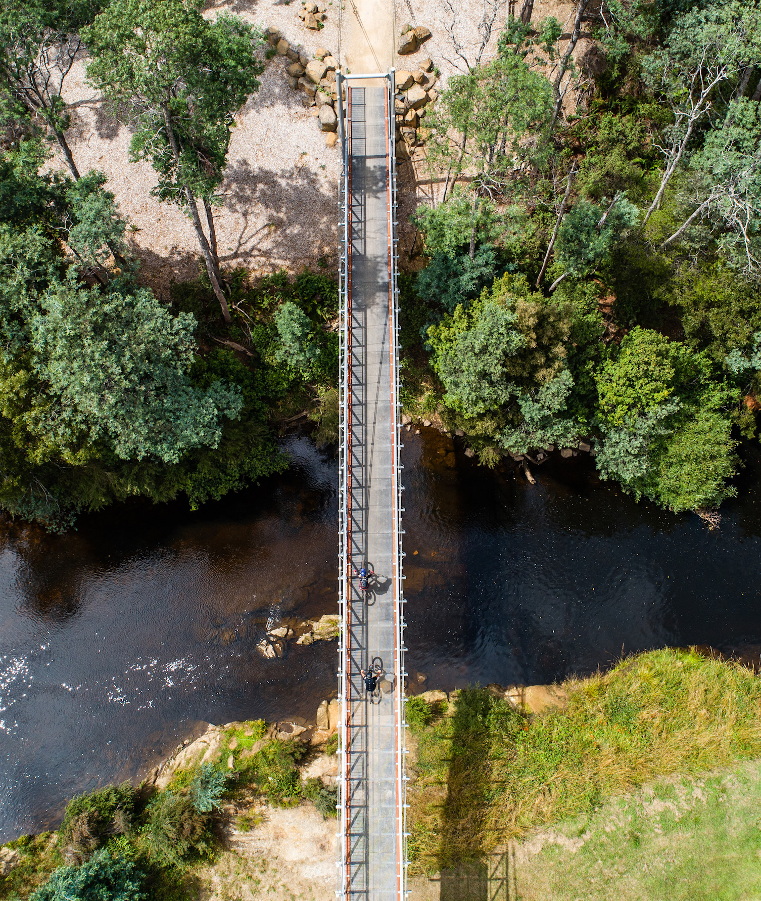 An aerial view of a suspension bridge at Blue Derby.