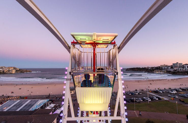 The view from the top of the iconic Bondi Vista Ferris Wheel at the Bondi Festival.