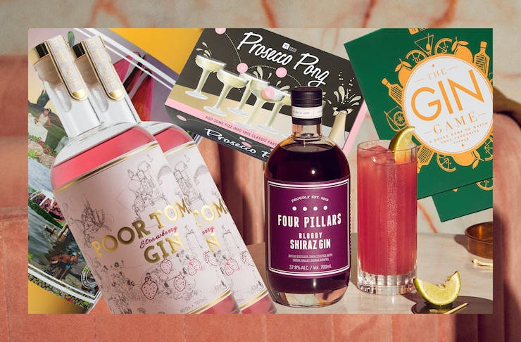 A collage of Australian gins on a pink background.