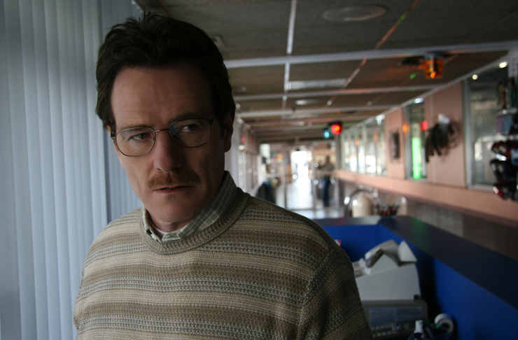 Bryan Cranston as Walter White in Breaking Bad stares off camera