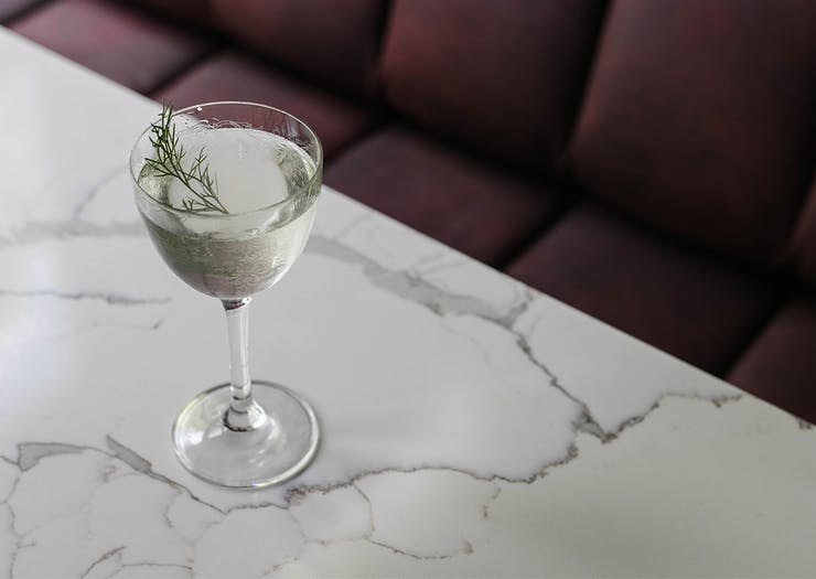a cocktail sitting on a table