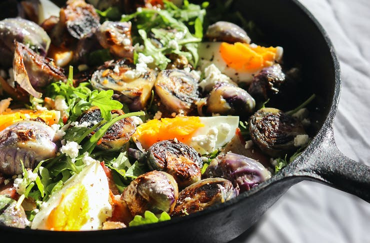 Red Brussels Sprouts looking oh so tempting in a pan.