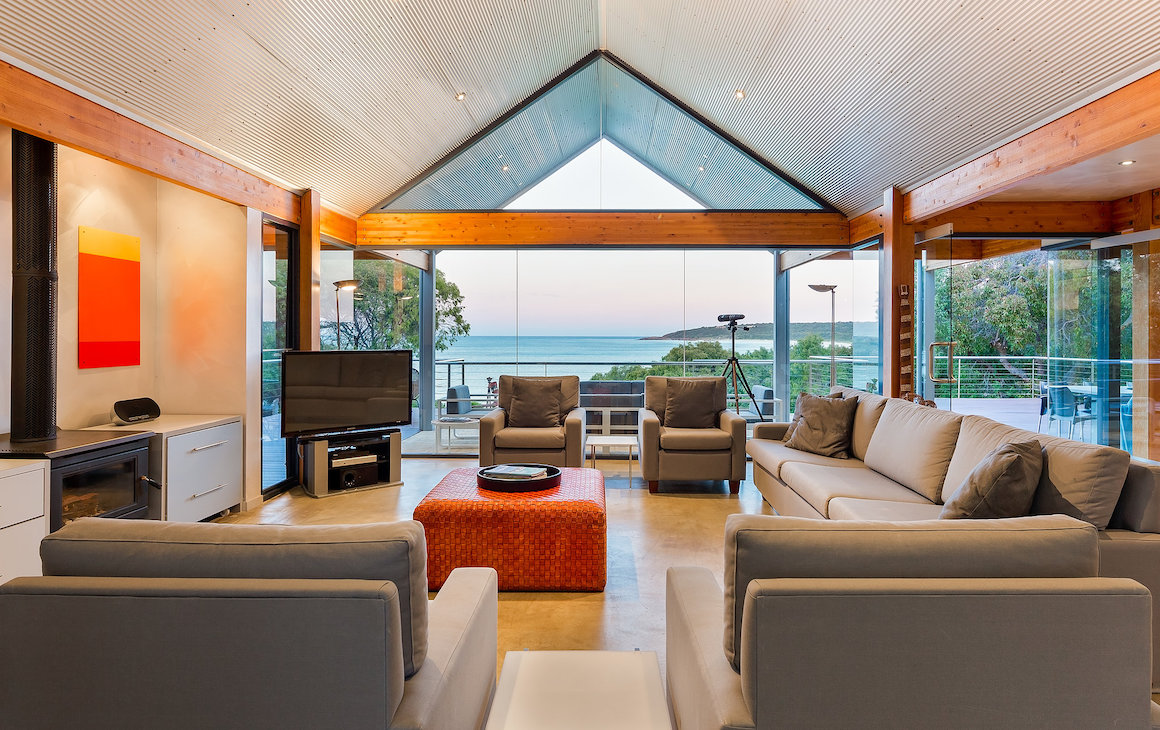 The living area at Bunkers Beach House