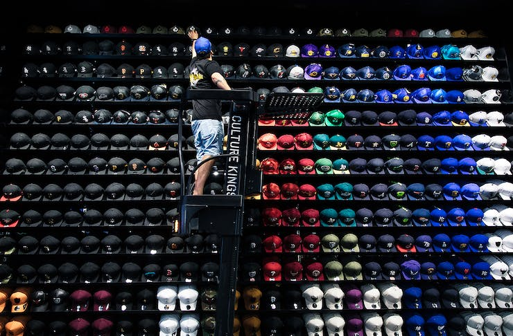 Stacks of hats at Culture Kings Melbourne.