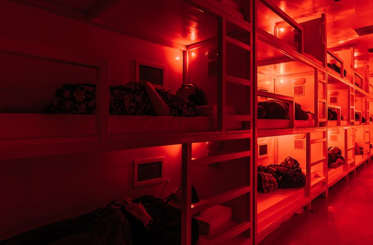 Bunk beds inside COMA shipping container
