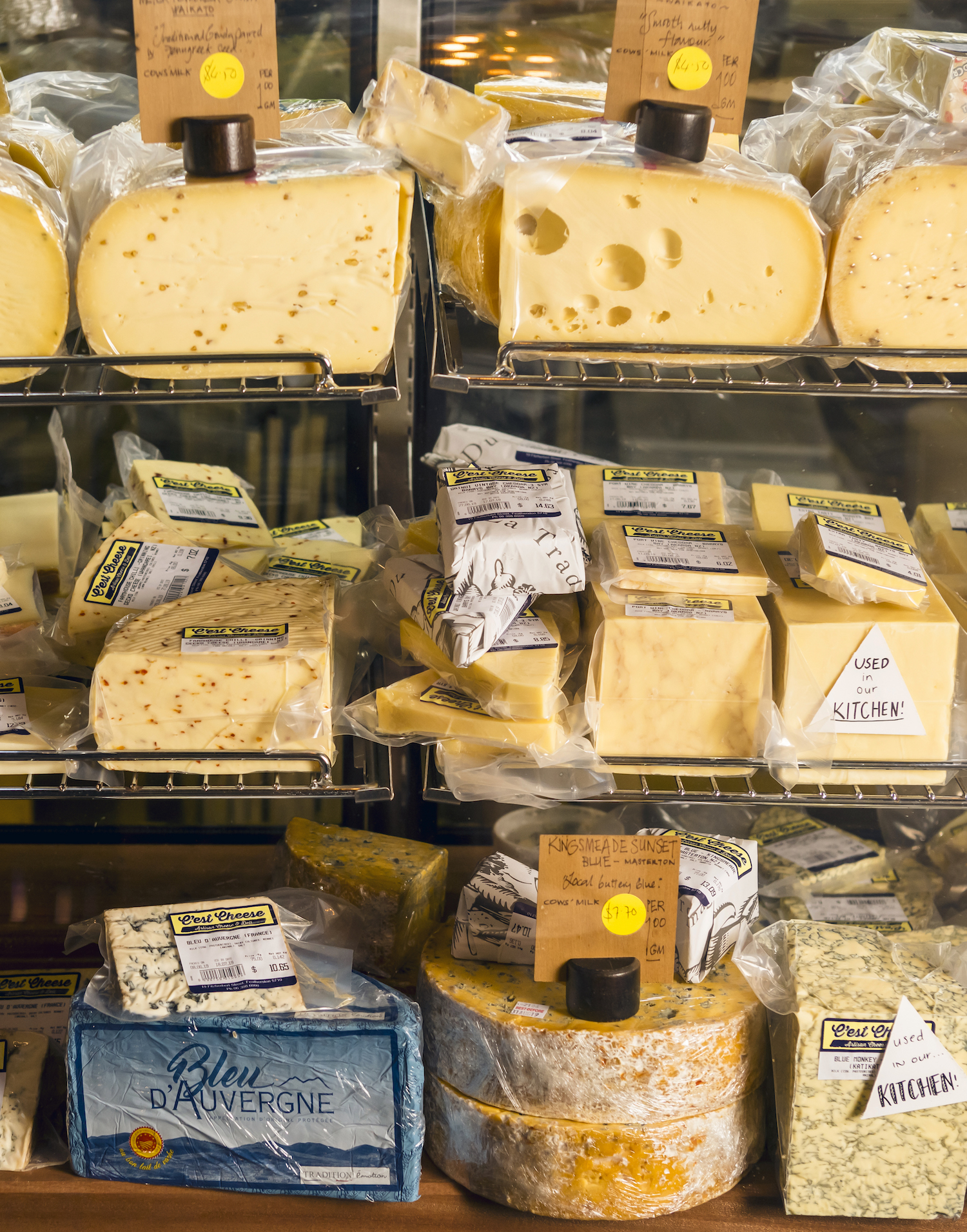 A selection of gourmet cheese.
