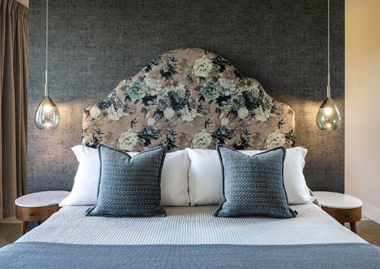 a king bed in a suite