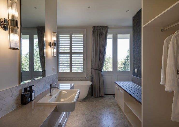 a bathroom with a freestanding tub