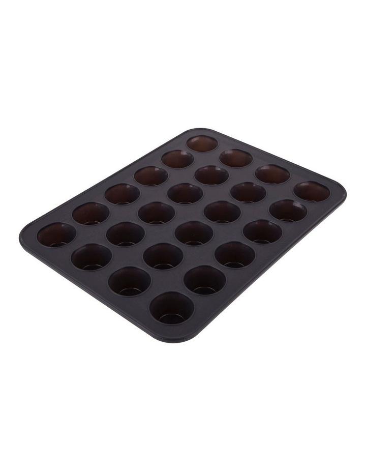 A black 24 hole mini cupcake tray.