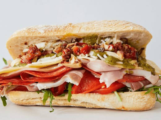 A sandwich with lots of different fillings