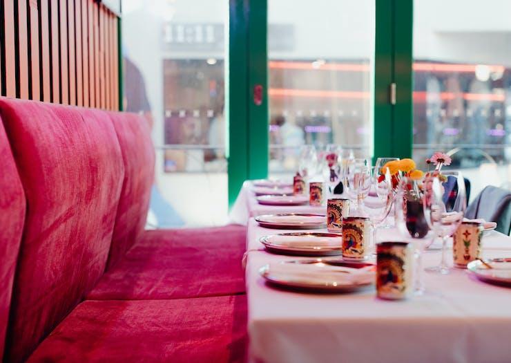 plus velvet seats and table setting