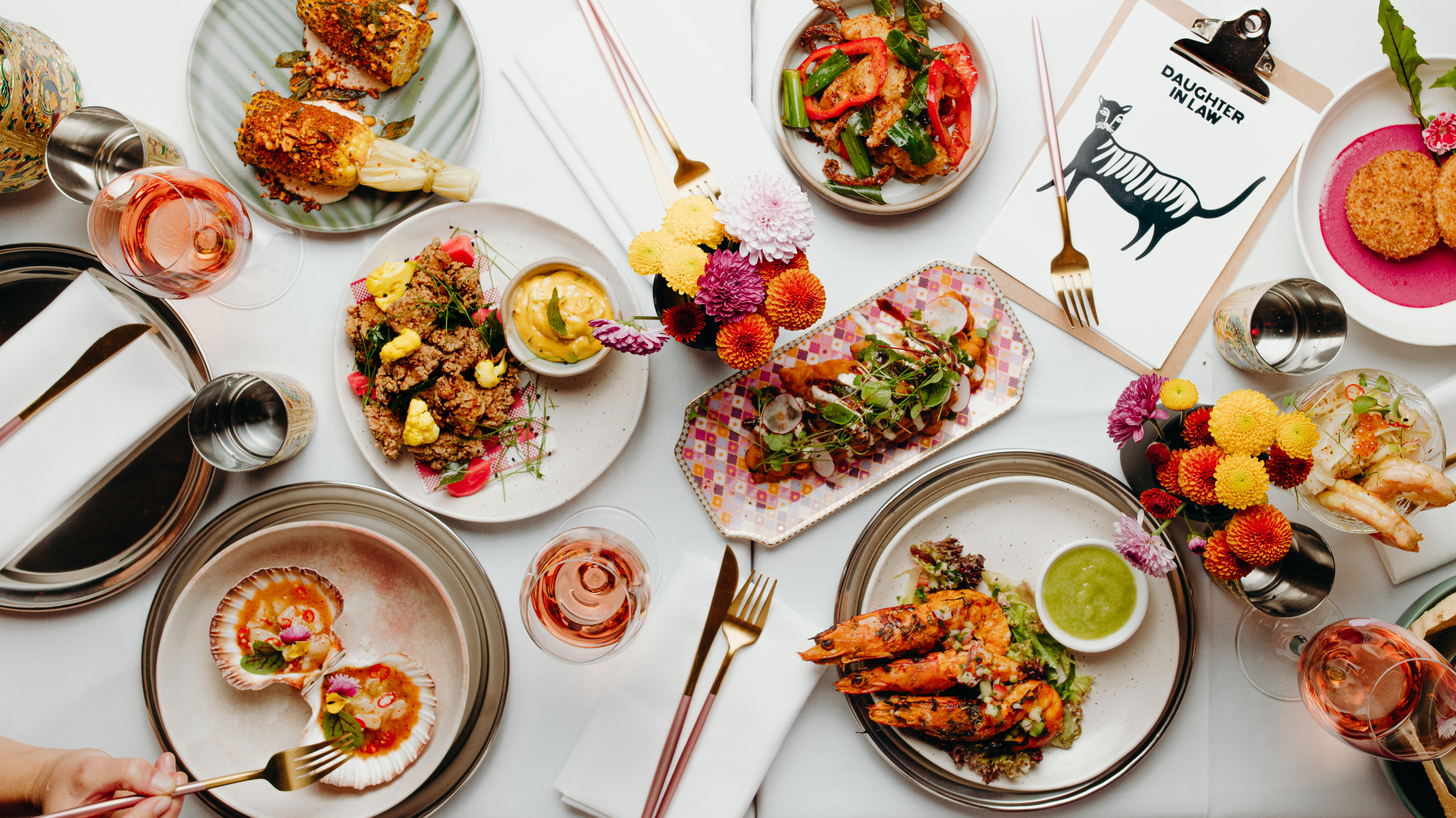 several dishes on a table