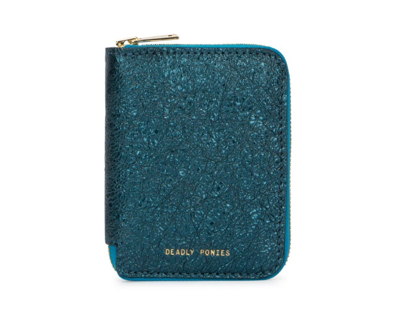 A glitzy blue mini metallic wallet