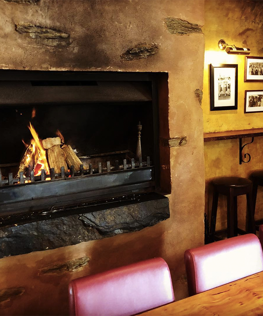 A roaring fire at Dida's Wine lounge