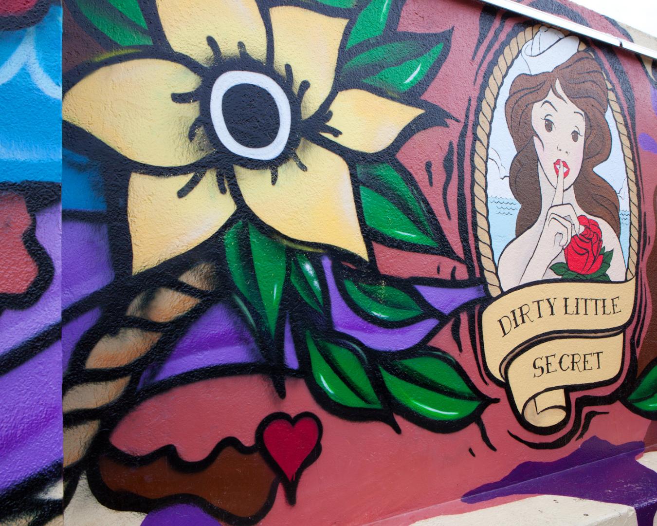 A graffiti wall inside Dirty Little Secret