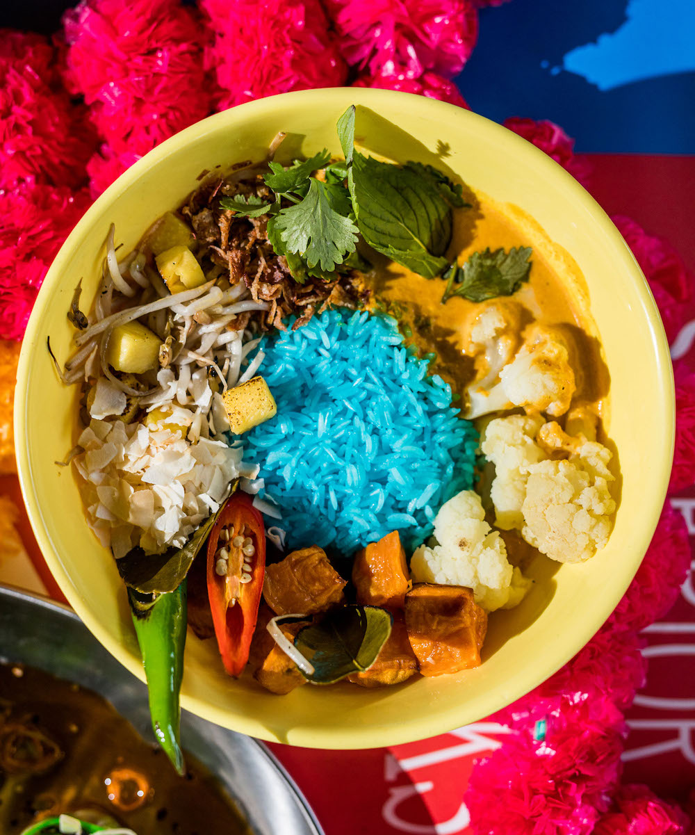 Vegan curry with butterfly pea rice