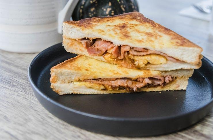 a toasted breakfast sandwich