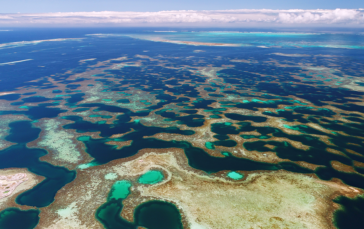 Drone image of the Abrolhos Islands