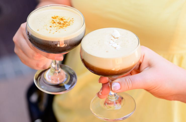 two espresso martinis