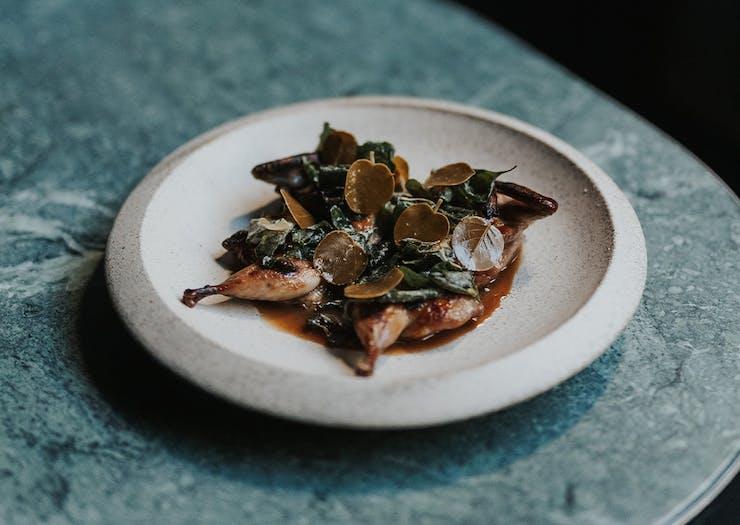 a plate of quail